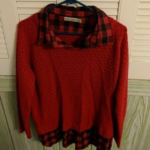 Red plaid/ sweater top